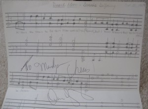 """Dennis DeYoung signed the sheet music I'd tried to write out for his hit """"Desert Moon"""" when I was a teen. I love that song!"""